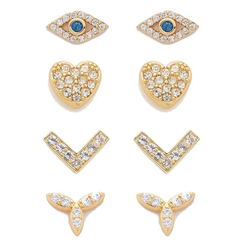 Europeus e americanos New Arrival Minimal Fátima olho mau Mini Brincos com diamante Brincos Coração Para Mulheres Jóias Atacado