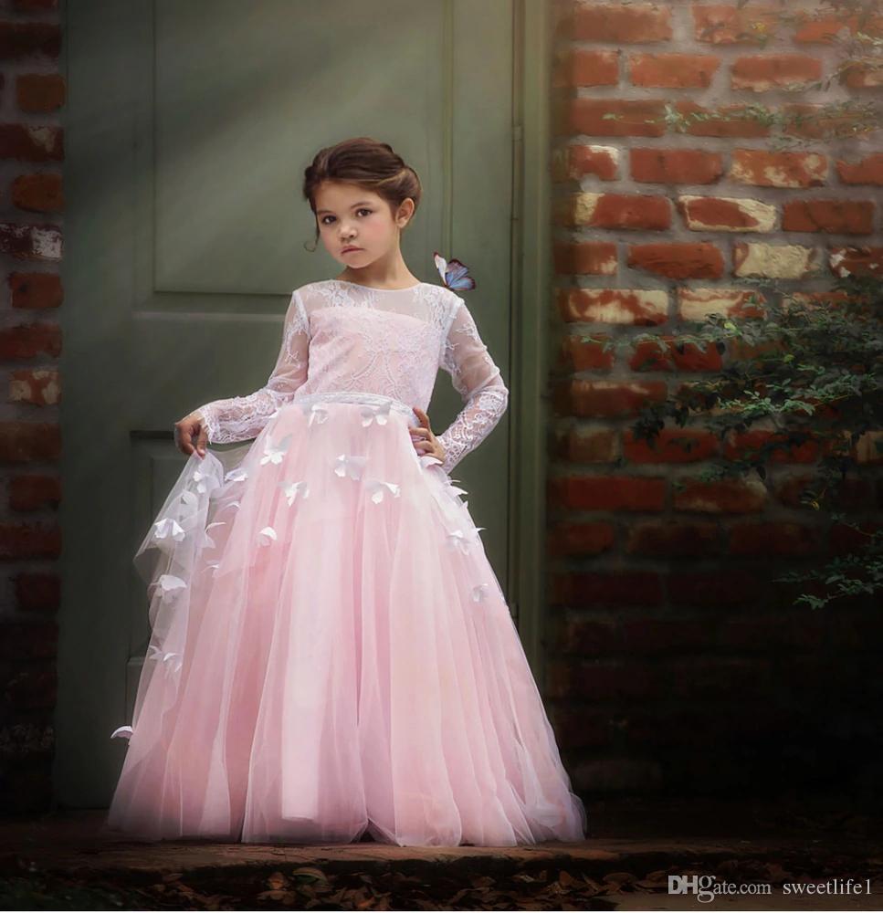 2019 Lovely Pink Jewel Neck Flower Girls Vestidos con apliques de mariposa con cordones de manga larga Vestidos de primera comunión Girls Pageant vestido