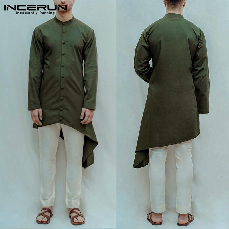 Homem retro cor sólida solto Irregular muçulmana Kaftan Blusas Moda homens longos Vintage Camisas Casual manga comprida Fique Collar Tops