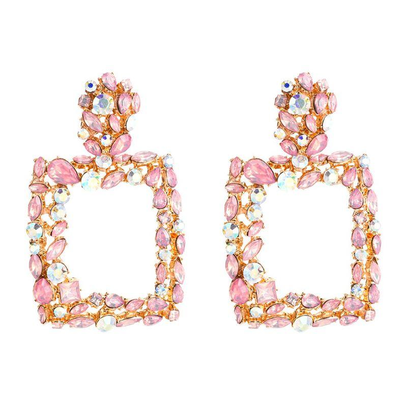 Boucles d'oreilles déclaration rose pour les femmes grand cristal carré grandes boucles d'oreille 2019 goutte strass earing bijoux de mode géométrique