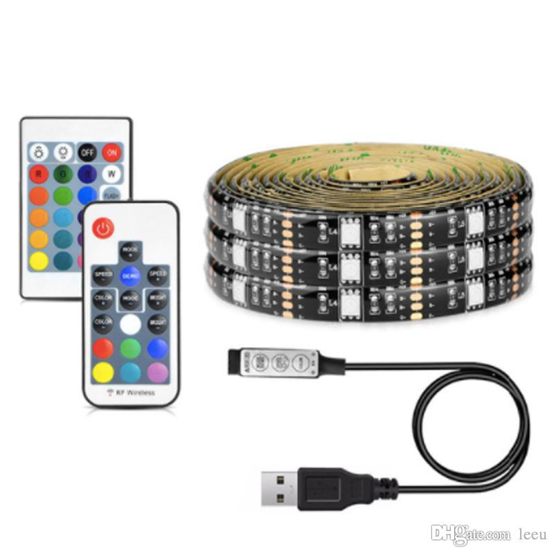 5050 DC 5V USB RGB LED قطاع 30LED / M الخفيفة شرائط مرنة الشريط ماء 1M 2M 3M 4M 5M عن بعد للخلفية TV