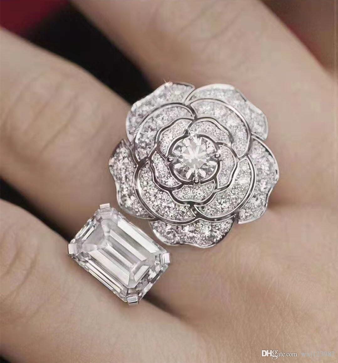 유럽과 미국의 고급 S925 스털링 실버 동백 디자이너 링 평방 다이아몬드 개방 명품 디자이너 보석 여성 반지