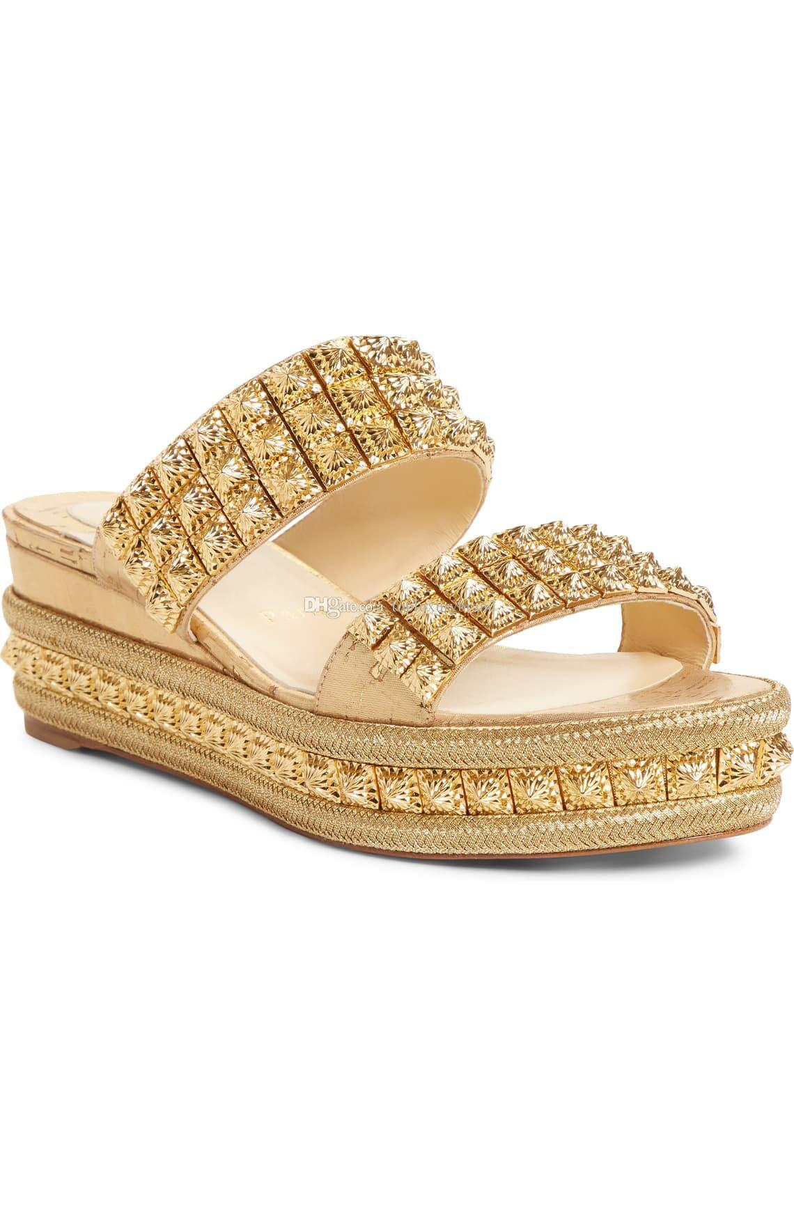 Women Sandals Shoes Red Bottom Wedges Studs Gold Spiked Ecu Style Sandals,60MM Platform Heels Wedge Sandal Woman Wedding Dress Casual Shoes