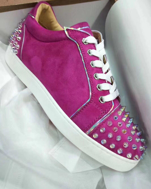 Originals baratos - Low Top Júnior Spikes Red Sneakers fundo para Mulheres, Homens Casual Walking Comfort Red Sole Trainers Com Box, EU35-47