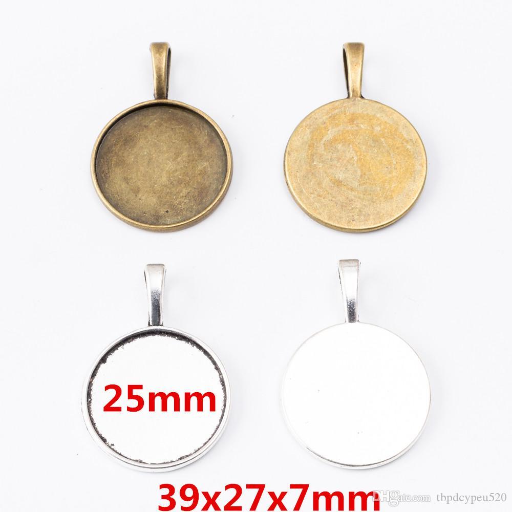 40pcs atacado encantos de liga de zinco metal do vintage 25 milímetros redonda Photo fram pingente EFOR Descobertas jóias DIY 6259