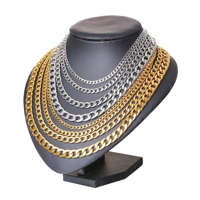 Edelstahl-Bordsteinkettenkette Halsketten für Männer männlich Colar Schmuck 20-24 Zoll