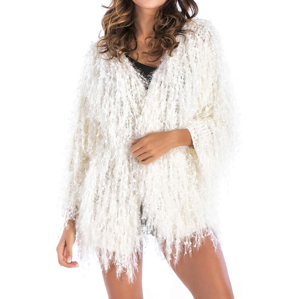 Escudo más el tamaño de la piel de imitación de las mujeres 4XL Otoño Invierno 2019 mullida felpa Escudo sólido caliente de manga larga de la borla de la rebeca suave Outwear