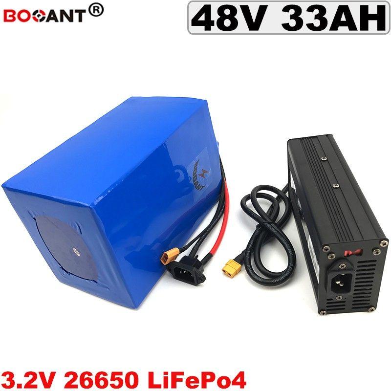 48V 33AH Vélo Électrique Batterie 1800W Rechargeable 3.2V 15S 48V LiFePo4 Batterie Au Lithium + 5A Chargeur 50A BMS Livraison Gratuite