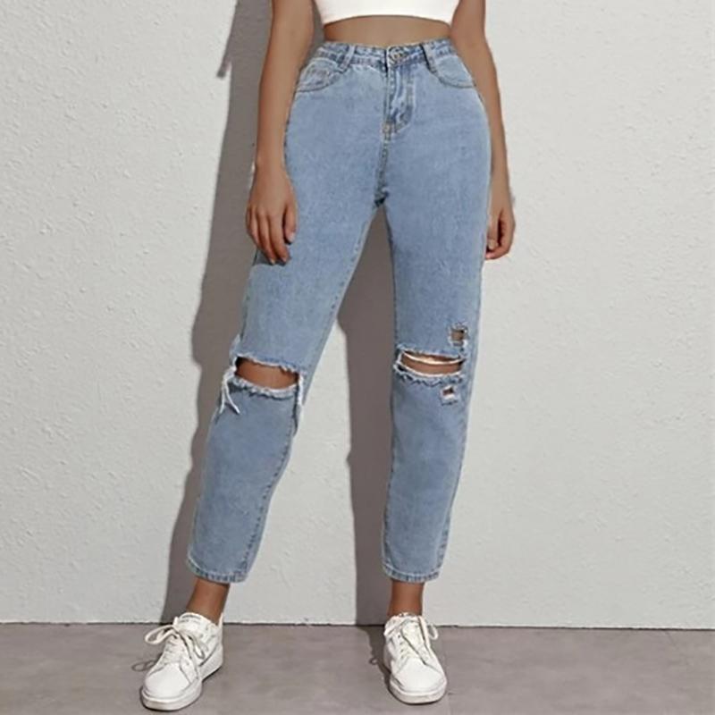 Sexy высокой талией Разорванные Дырки прямые джинсовые брюки Женский карандаш брюки Boyfriend джинсы Женщины выдалбливают Узкие брюки джинсы