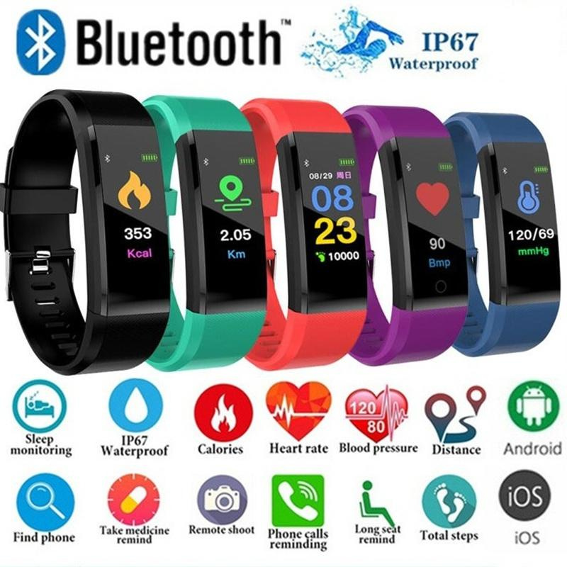 Смарт-браслет 115plus цветной экран Смарт часы кровяного давления монитор сердечного ритма шагомер Фитнес Tracker Водонепроницаемый спортивный браслет