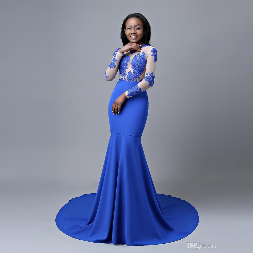 African Sexy Royal Blue Mermaid Prom Dresses High Jewel Neck Lace Appliqued Evening Gown Plus Size Formal Dress Evening Wear robes de soirée