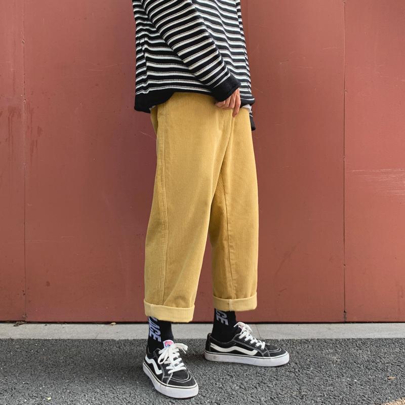 Autumn veludo de algodão calças dos homens Moda cor sólida Cotton Pants Casual Men Streetwear Hip Hop solto reta calças Masculino S-2XL