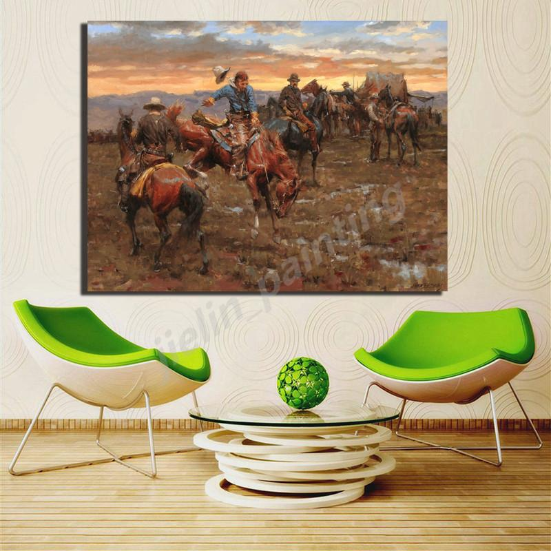 Western Cowboy Training Horse Wall Art Canvas Posters Modern Prints Oil Painting Wall Pictures For Modern Bedroom Home Decor