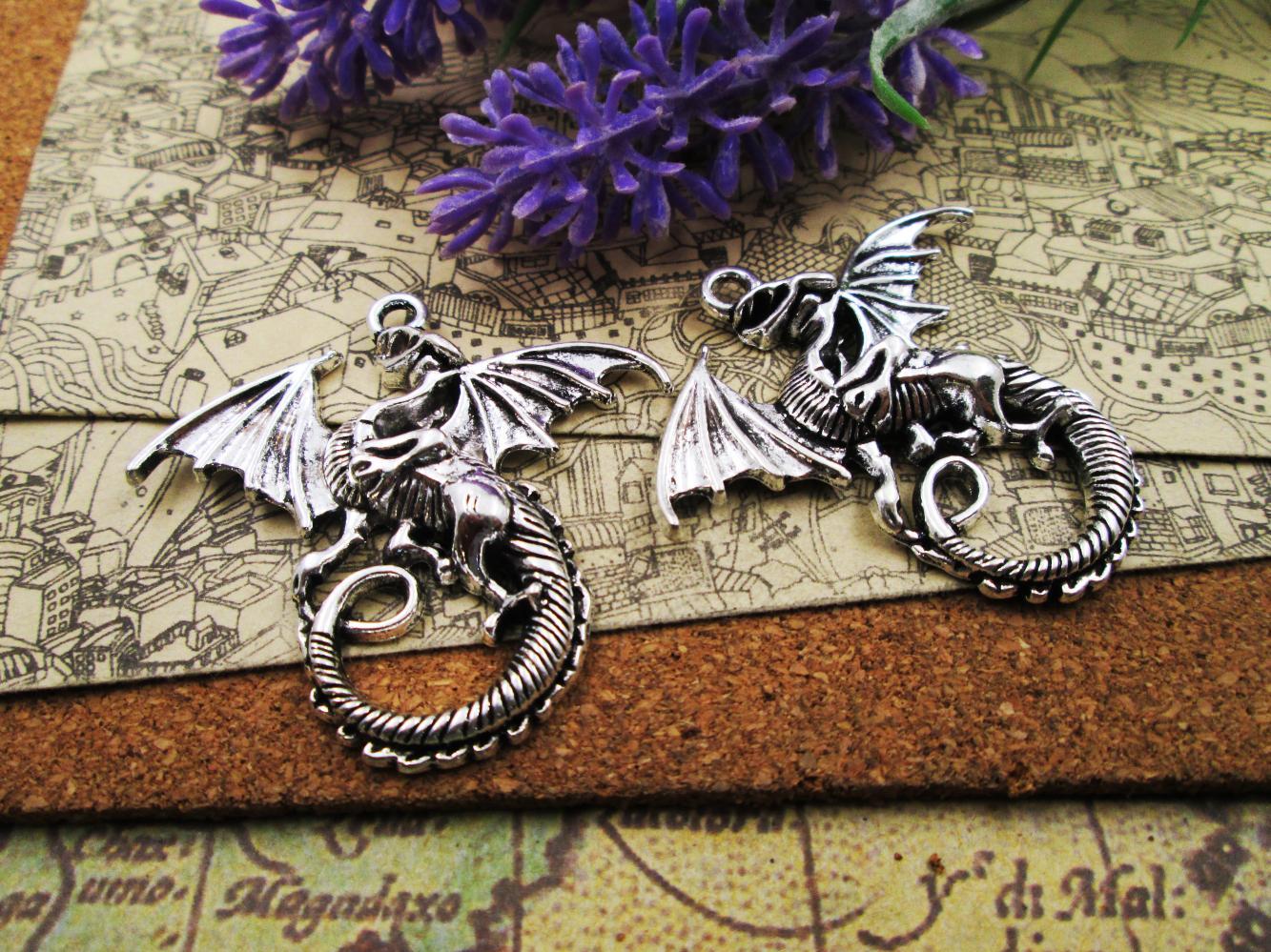 12pcs - 44 * 47mm Enormes grandes encantos dragões voadores prata tibetana chapeado Pendentes Antique fazer jóias Handmade DIY