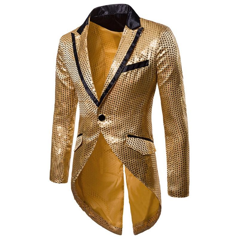 Puimentiua Men Gold Silver Red Black Sequin Slim Fit Tailcoat Stage Singer Prom Dresses Costumes Wedding Groom Suit Jackets