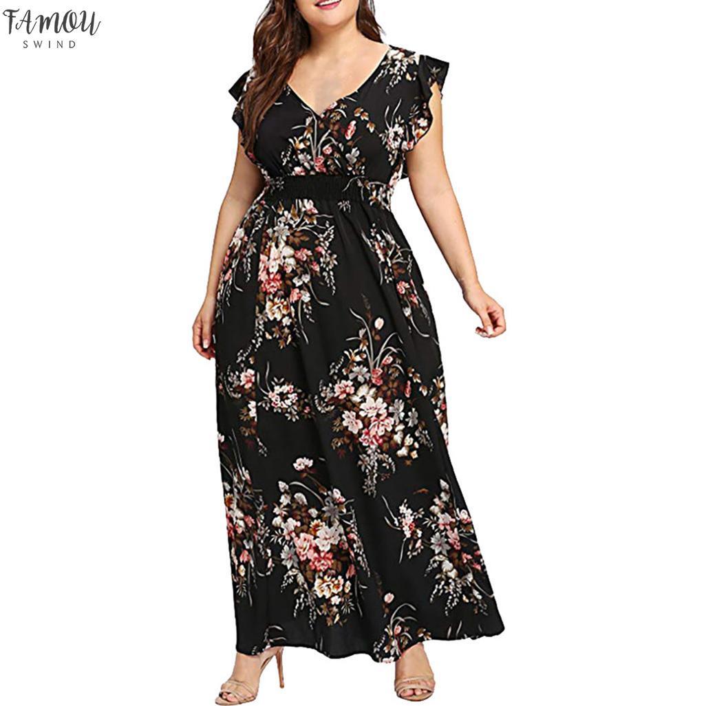 Mulheres Plus Size Neck V Verão Floral Imprimir vestido sem mangas Partido Boho l colorido confortável respirar moda