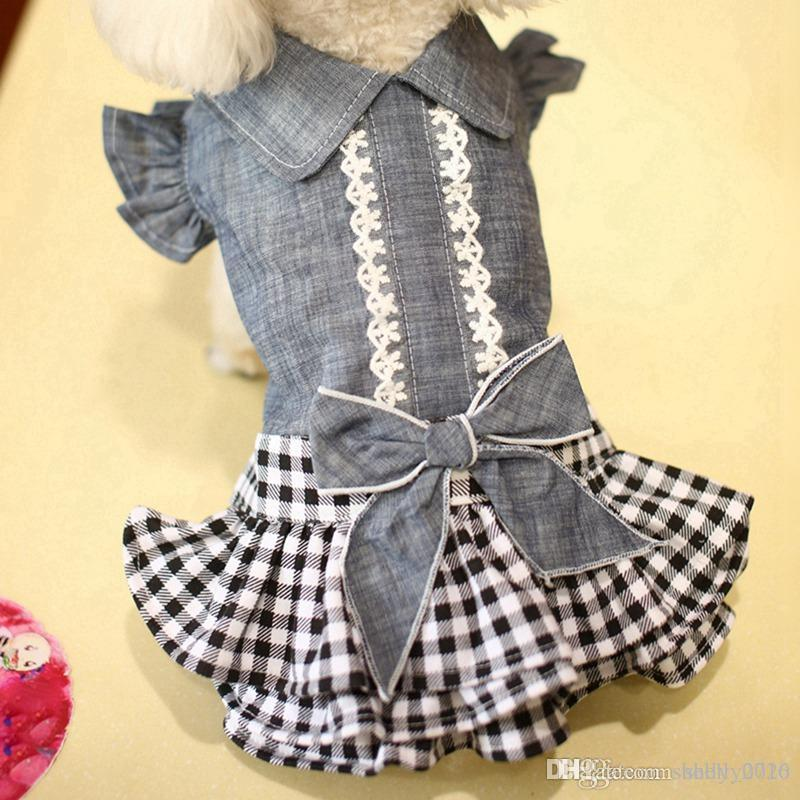Pet Denim vestito dal tutu cane gatto Primavera Estate cowboy vestiti per il cane ragazze Small Medium Dog Puff Sleeve Bowknot Dress
