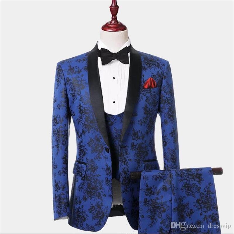 2020 Mode Hommes Costumes Avec Noir Imprimé Bleu Hommes Floral Blazer Designs Hommes Trois Pièces Blazer Slim Fit Costume Veste Hommes De Mariage Smokings