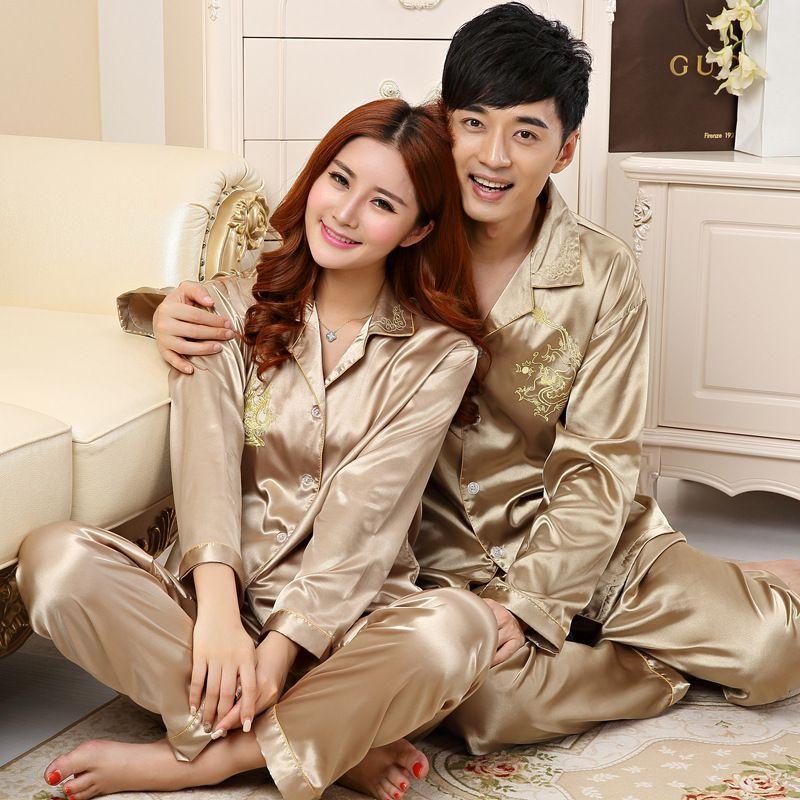 Çift Pijama İpek Saten Pijamas pijamalar Ev Suit Pijama İçin Lover Erkek Kadın Âşıklar Giyim M-3XL ayarlar