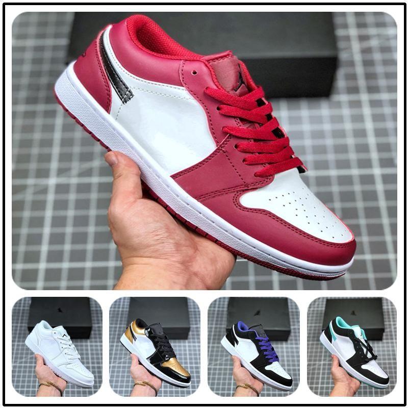 Designer de Luxo 2020 Homens Casual basquete Sneakers Air aj 1 Low Grey tamanho Toe 12 White Preto. 553558-110High Qualidade sneakers homens moda