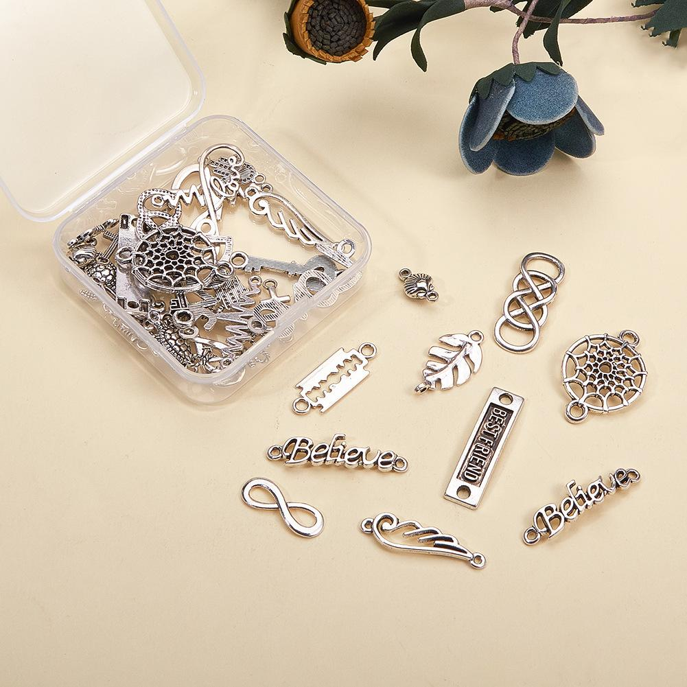 40pcs/box Tibetan Silver Connector Pendant Mixed Shape Boxed Handmade Vintage Alloy DIY Bracelet Necklace Jewelry Accessories Gifts