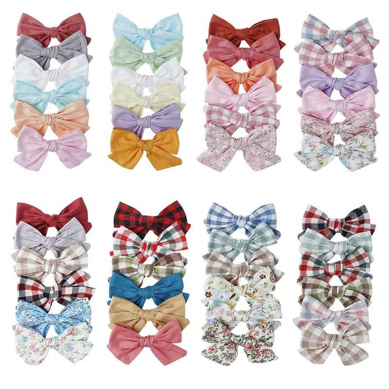 "48 color 4.33"" hair Bow Baby girl Barrettes Girl Hair Accessories Plaid Flower Print kids party School hair clipper"