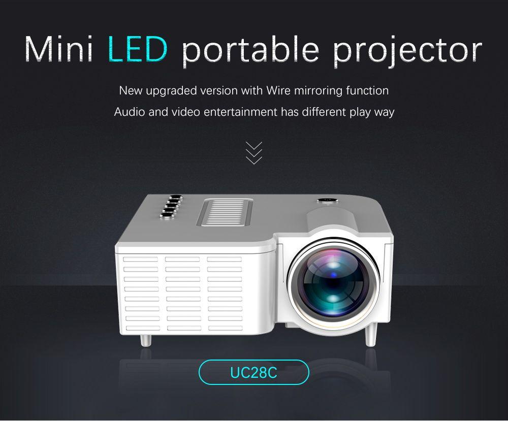 원래 UNIC UC28C 미니 LED 프로젝터 휴대용 포켓 프로젝터 멀티미디어 플레이어 홈 시어터 게임 10-60inch USB TF 비머 지원