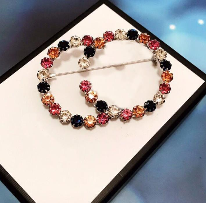 العلامة التجارية الساخنة لديها طوابع الماس مصمم دبابيس المينا دبابيس لسيدة المرأة حزب عشاق الزفاف هدية الخطوبة المجوهرات الفاخرة مع مربع LZ