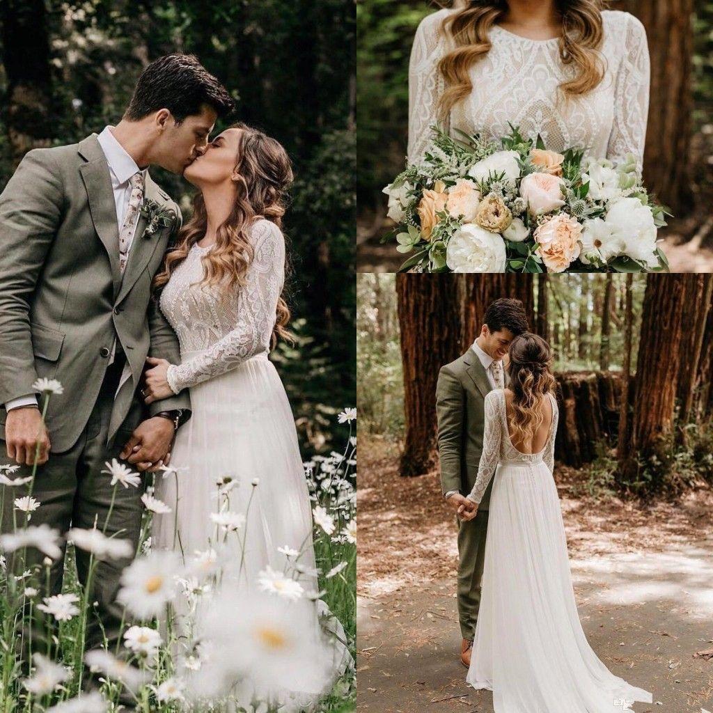 Beach Bohemian Wedding Dresses Sexy Backless Long Sleeves Country Boho Bridal Gowns Plus Size Wedding Dress vestidos de novia 2020 BC1704