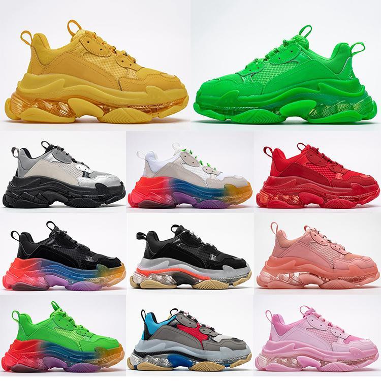 2020 nuevo de la manera de la explosión de cristal láser inferior París 17FW Triple S mujeres zapatos casuales para hombre del papá de la vendimia de la plataforma entrenadores deportivos zapatillas de deporte