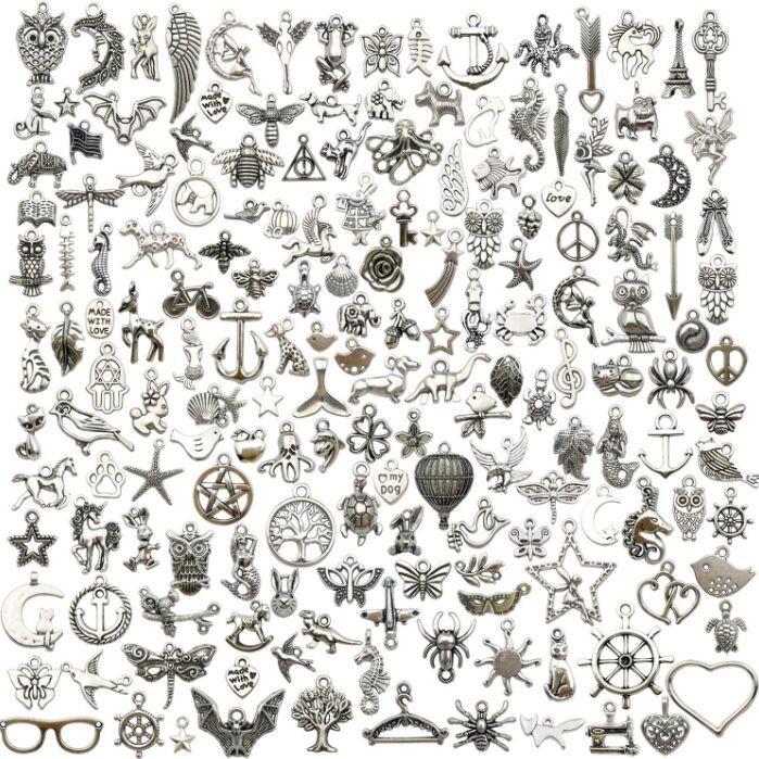 100pcs / Lot Vintage тибетского серебряного сплав Moon Wing сердце Подвеска Подвеска Подвеска для изготовления ювелирных изделий ожерелья DIY браслета