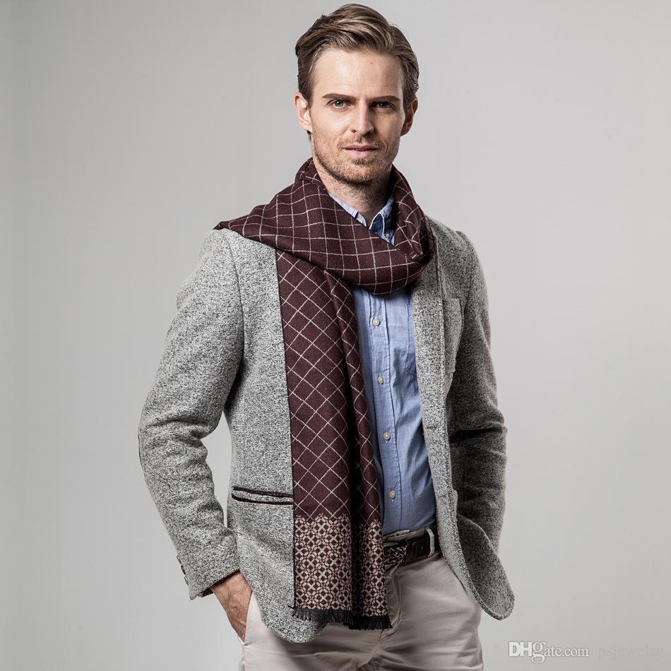 Новый бренд зима мужская классический плед имитация кашемир бизнес шарф мужчины шарфы случайные утолщенные шарф Бесплатная доставка