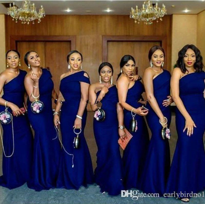 2020 Cheap Royal Blue Une épaule sirène Robes de mariée balayage train africaine Pays Invité de mariage Robes Pucelle d'honneur Robe Plus Size