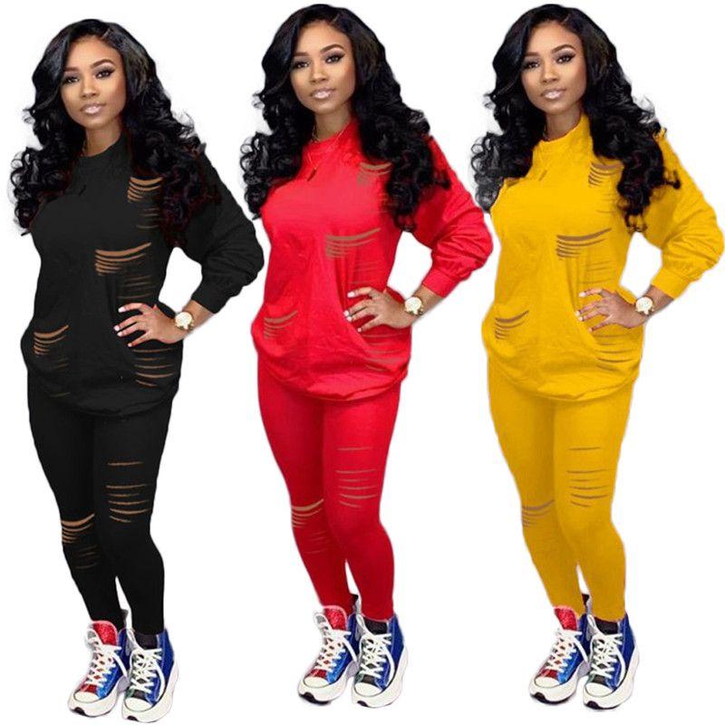 Plus size 3XL Women solid color outfits 2pcs sets pullover top+pants casual winter holes tracksuit outdoor warm sweatsuits jogger suit 2020