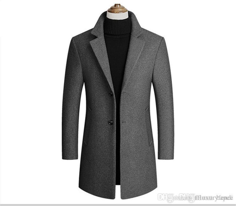 Fashion Solid Revers Ausschnitt Outwear Mens Langarm Trench Coats Frühlings-Herbst-Männer Outwear mit Einreiher