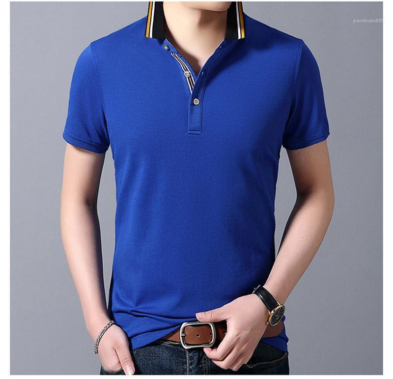 Lapel cou à manches courtes T-shirts colorés pour hommes occasionnels Slim vêtements pour hommes Solide Couleur d'été Hommes Polos