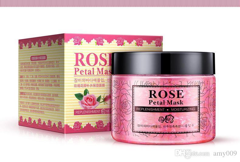 DHL 10pcs NEW Rose Petals Hydrating Face Mask Nourishing Skin lifting Face Mask Bright Petals Clay Sleeping Masks Treatment Black Mask