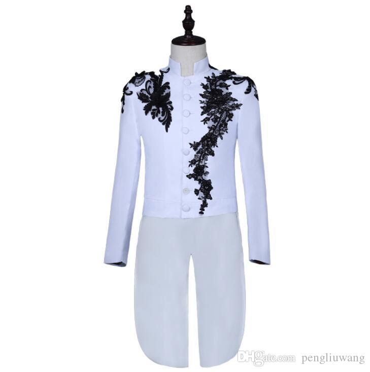 Blazer men tuxedo suit set with pants mens wedding suits singer star style white stage clothing personality formal dress