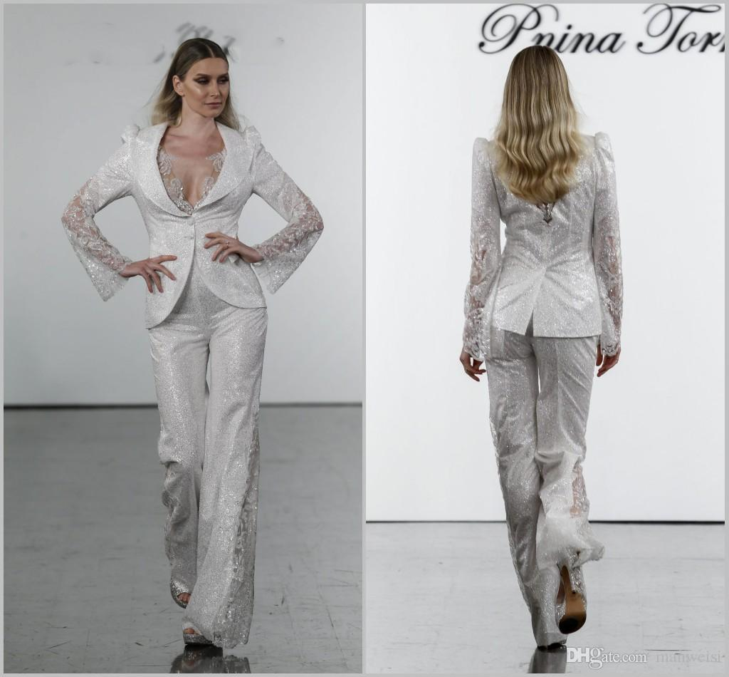 2019 Pnina Tornai Jumpsuits Wedding Dresses Long Sleeve Bohemian Beach Bridal Gowns Lace Appliqued Boho V Neck Wedding Dress