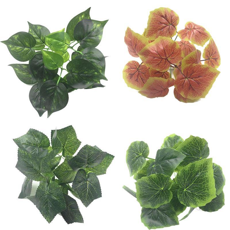 Искусственные листья растения Пластиковые Зеленый красный виноград сердце вечнозеленых пластиковые цветы для украшения дома таблицы
