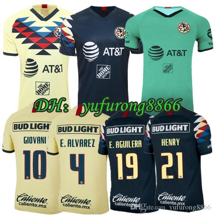 G. Dos Santos 19 20 home America Yellow jersey soccer R.SAMBUEZA P.AGUILAR 2019 2020 away Mexico club third green Football Shirt WOMEN