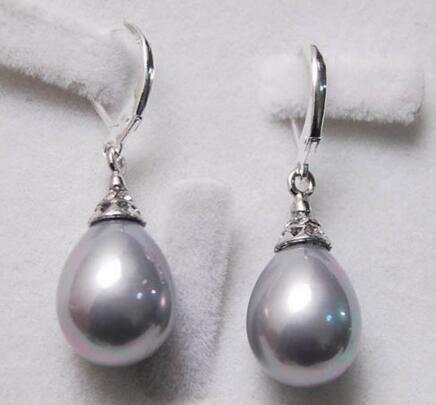 Lovely Women Wedding Jewelry FRETE grátis 12X16 MM Cinza Mar Do Sul Shell Pérola Brincos