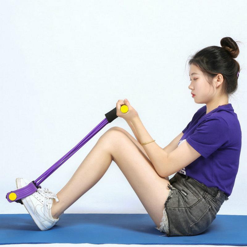 A tensão da corda das mulheres dos quatro Tubo Multi-função Pedal Peito desenvolvedor fina Men Leg Exercise Fitness Equipment Dropshipping