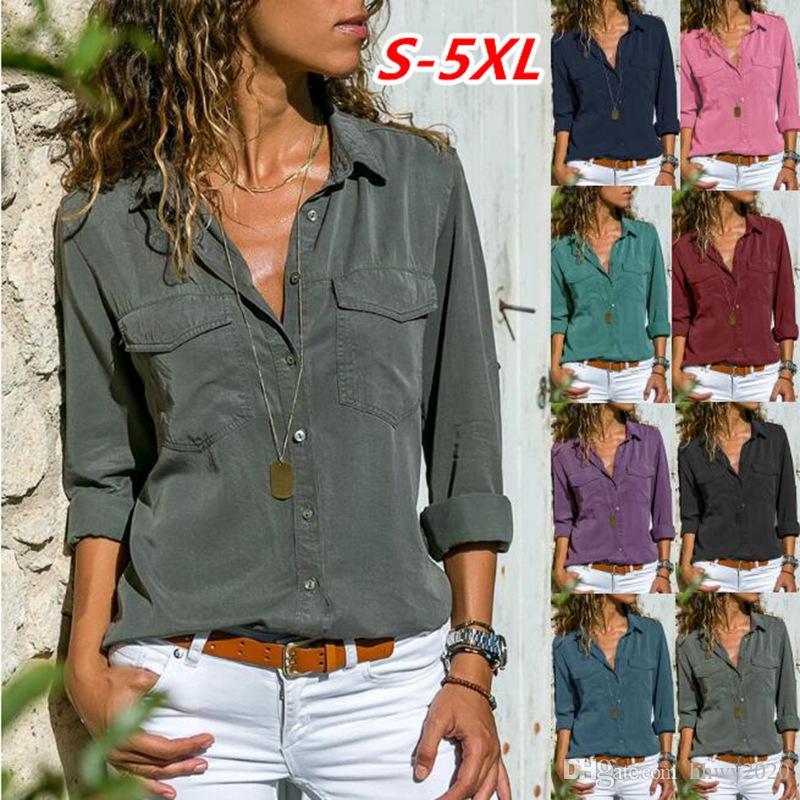 디자이너 여자 옷깃 긴 소매 셔츠 2019 새로운 고품질 유행 캐쥬얼 포켓 셔츠 여성 티 셔츠