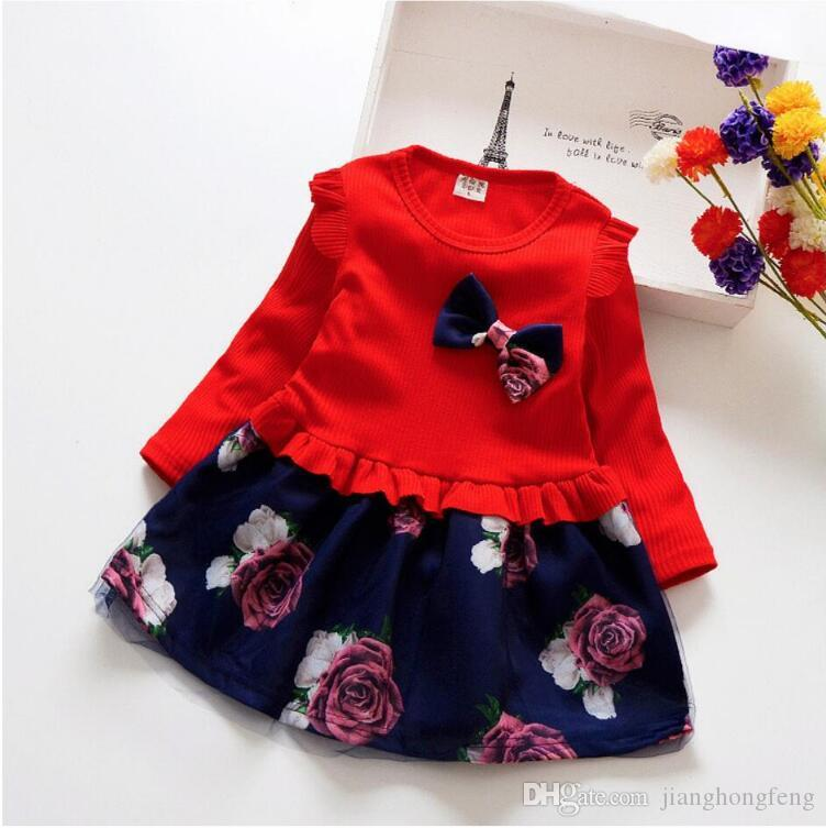 Baby Girl Dress 2019 Brand Autumn Children Clothes Girls Lovely lady Knitted Dress Fashion Full Sleeve Flowers Dress 2 3 4 5 Yrs