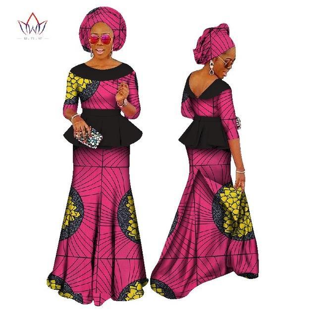 Ensemble jupe africaine pour femmes Dashiki Ensemble élégant de femmes africaines Bazin Ruffles Ensemble jupe Headtie Africa Clothing WY1149