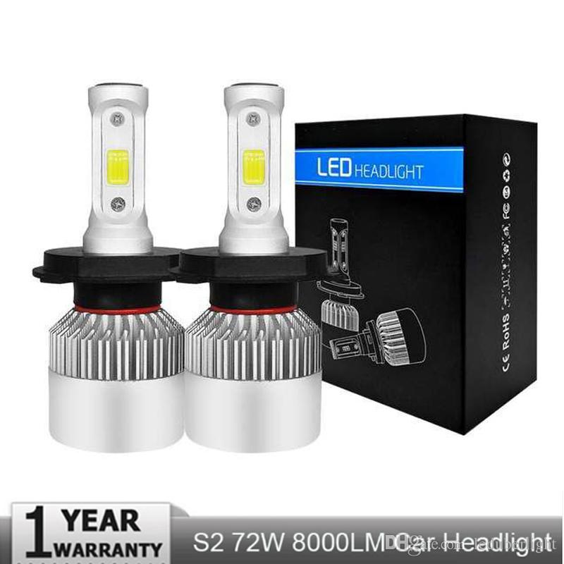 S2 H7 Led H4 Car Headlights 72w 8000lm Car Led Light Bulbs H1 H3 H9 H11 9005 9006 9007 H13 Automobiles Headlamp