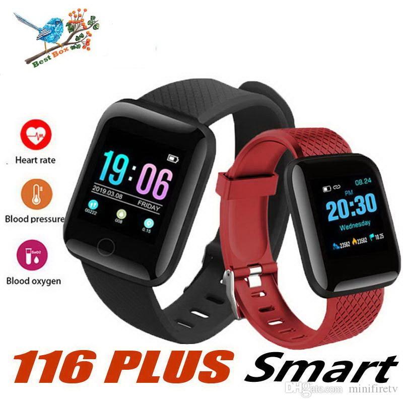 Montre Numérique Smart Android Bracelet Sport Fitness Pression Artérielle Fréquence Cardiaque Appel Message Rappel Rappel Podomètre 116 Plus Femmes Smartwatch