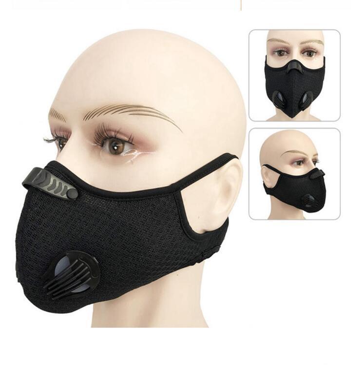 Masque de cyclisme 5 couleurs PM2.5 Filtrer le masque anti-poussière Perbie actif avec filtre anti-pollution Vélo Visage du visage OOA7790