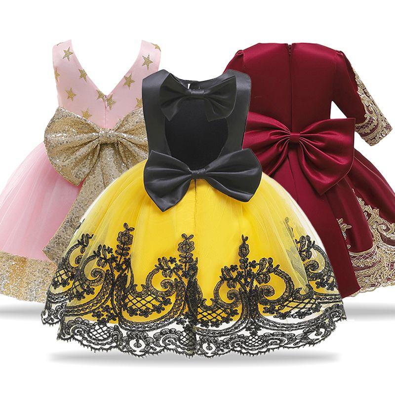 Kinder Princess Gelb Halloween-Kinder-Kleider für Abend-Partei-Blumen-Mädchen-Hochzeitskleid vestido infantil CY200514